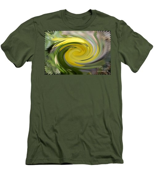 Men's T-Shirt (Slim Fit) featuring the digital art Yellow Whirlpool by Luther Fine Art