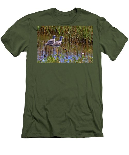 Men's T-Shirt (Slim Fit) featuring the photograph Yellowlegs Of Texas by Gary Holmes