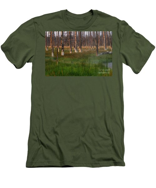 Yellowstone Mysterious Morning Men's T-Shirt (Slim Fit) by Teresa Zieba