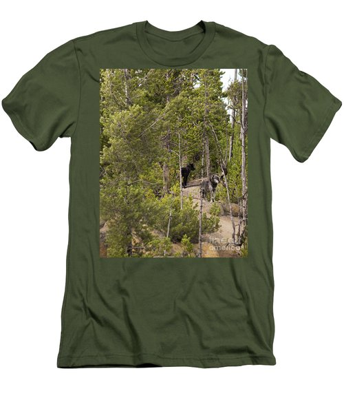 Men's T-Shirt (Slim Fit) featuring the photograph Yellowstone Wolves by Belinda Greb