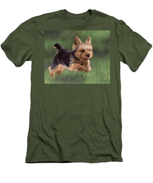 Yorkshire Terrier Painting Men's T-Shirt (Athletic Fit)