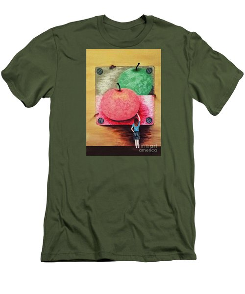 Men's T-Shirt (Slim Fit) featuring the painting Youth And Maturity by Jasna Gopic