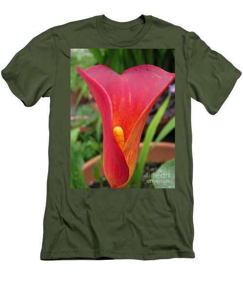 Men's T-Shirt (Slim Fit) featuring the photograph Zantedeschia Named Red Sox by J McCombie