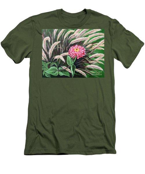 Zinnia Among The Grasses Men's T-Shirt (Slim Fit)