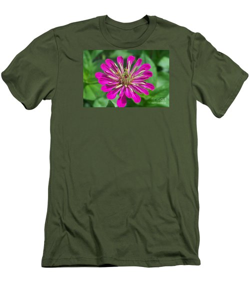 Men's T-Shirt (Slim Fit) featuring the photograph Zinnia Opening by Eunice Miller