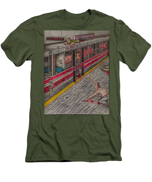 Zombies On The Red Line Men's T-Shirt (Athletic Fit)