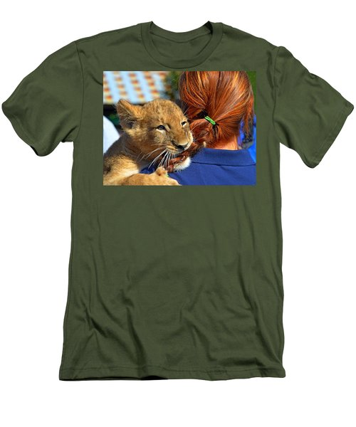 Zootography3 Zion The Lion Cub Likes Redheads Men's T-Shirt (Slim Fit) by Jeff at JSJ Photography
