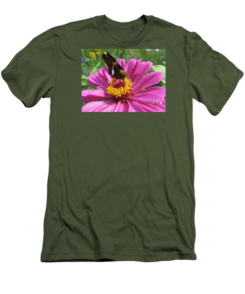 Men's T-Shirt (Slim Fit) featuring the photograph  Butterfly On Pink Flower by Tina M Wenger