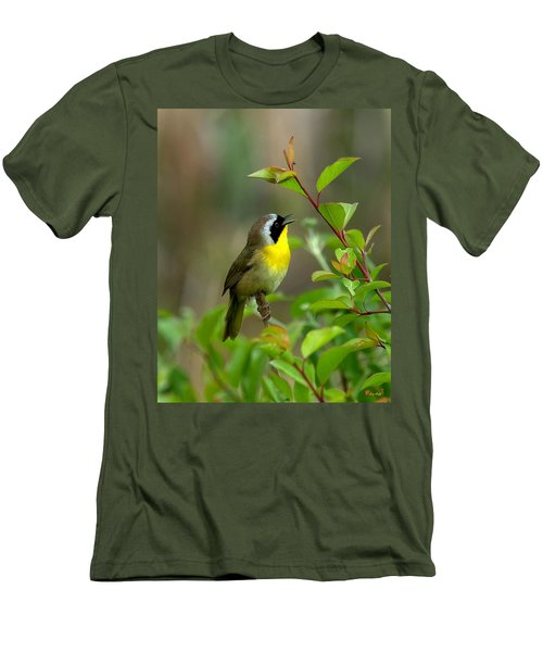 Men's T-Shirt (Slim Fit) featuring the photograph  Common Yellowthroat Warbler Warbling Dsb006 by Gerry Gantt