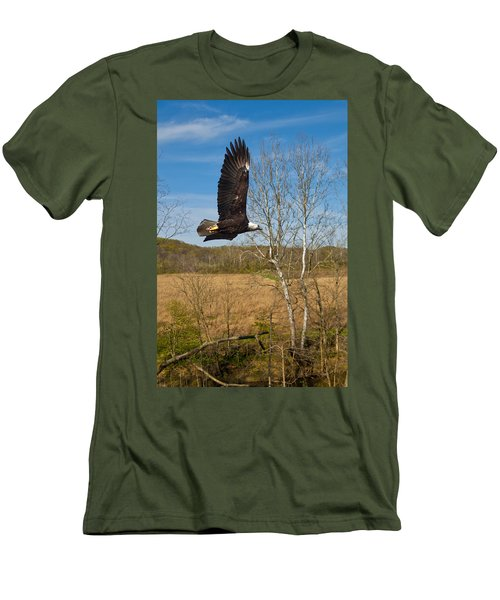 Men's T-Shirt (Slim Fit) featuring the photograph  Eagle Circleing Her Nest by Randall Branham