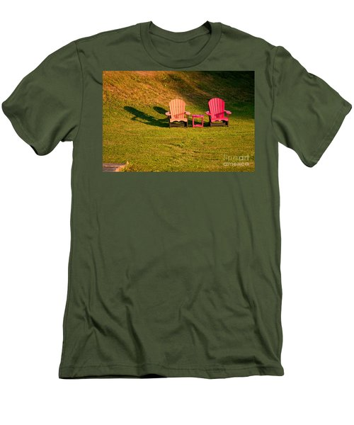 Men's T-Shirt (Slim Fit) featuring the photograph Red And Orange Chairs by Les Palenik
