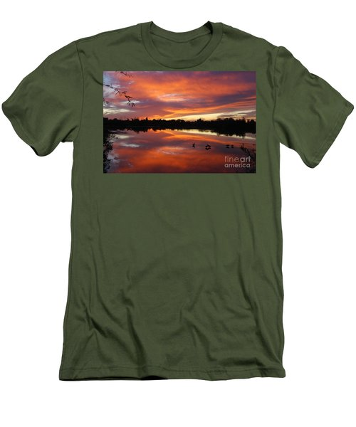 Men's T-Shirt (Slim Fit) featuring the photograph Riparian Sunset by Tam Ryan