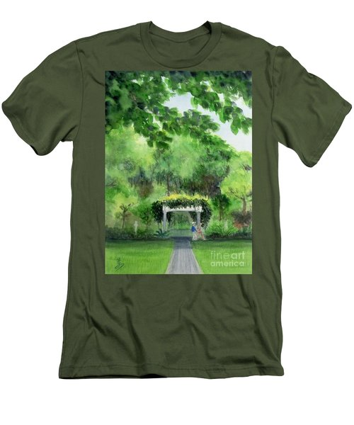 Men's T-Shirt (Slim Fit) featuring the painting the garden at the wellers carriage house in Saline  Michigan 1 by Yoshiko Mishina