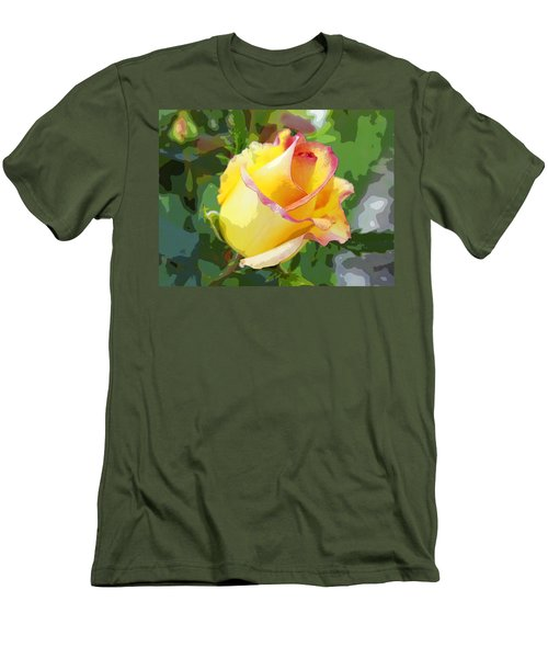 Yellow Rose Men's T-Shirt (Slim Fit) by Anne Mott