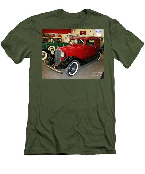 Men's T-Shirt (Slim Fit) featuring the photograph 1930's Antique Chevrolet Sedan by John Black