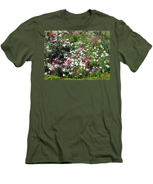 A Bed Of Beautiful Different Color Flowers Men's T-Shirt (Slim Fit) by Ashish Agarwal
