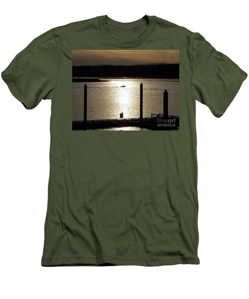 Men's T-Shirt (Slim Fit) featuring the photograph A Lone Boat At Sunset by Chalet Roome-Rigdon