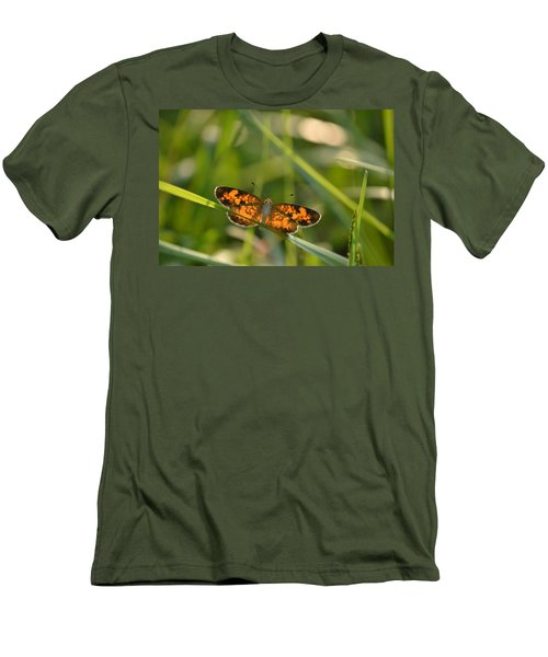 Men's T-Shirt (Slim Fit) featuring the photograph A Pearl In The Grass by JD Grimes