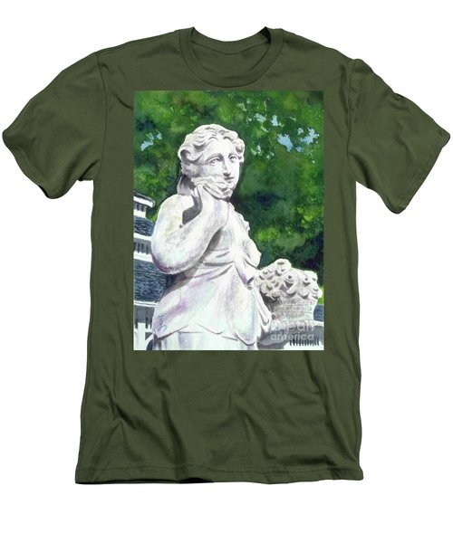 Men's T-Shirt (Slim Fit) featuring the painting A Statue At The Wellers Carriage House -1 by Yoshiko Mishina