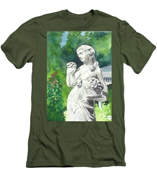 Men's T-Shirt (Slim Fit) featuring the painting A Statue At The Wellers Carriage House -2 by Yoshiko Mishina