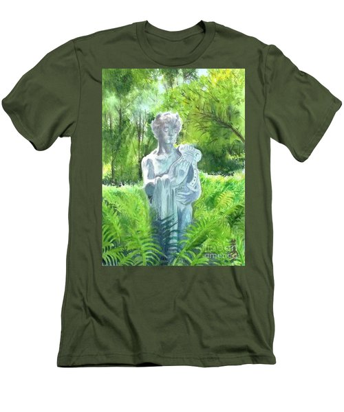 Men's T-Shirt (Slim Fit) featuring the painting A Statue At The Wellers Carriage House -4 by Yoshiko Mishina