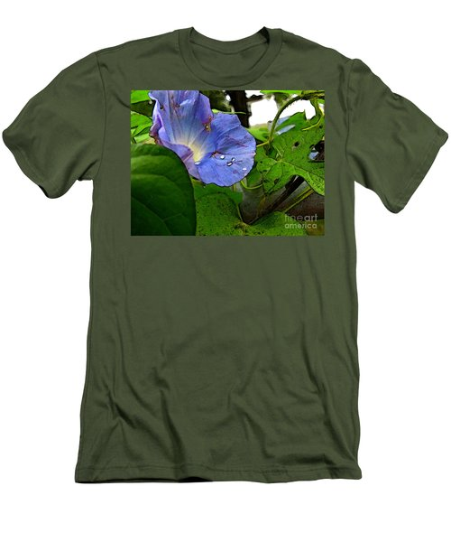 Men's T-Shirt (Slim Fit) featuring the digital art Aging Morning Glory by Debbie Portwood