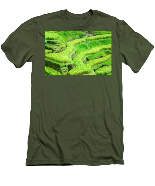 Men's T-Shirt (Slim Fit) featuring the photograph Amazing Rice Terrace Field by Luciano Mortula