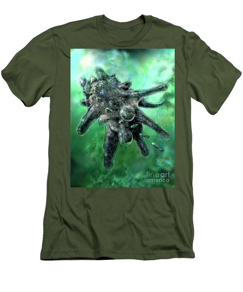 Men's T-Shirt (Slim Fit) featuring the digital art Amoeba Green by Russell Kightley