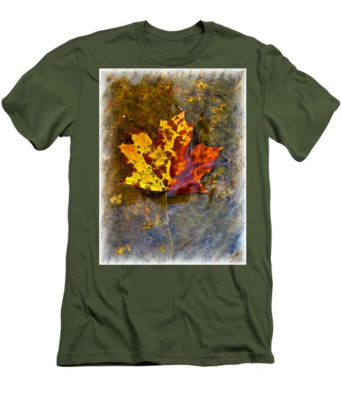 Men's T-Shirt (Slim Fit) featuring the digital art Autumn Maple Leaf In Water by Debbie Portwood