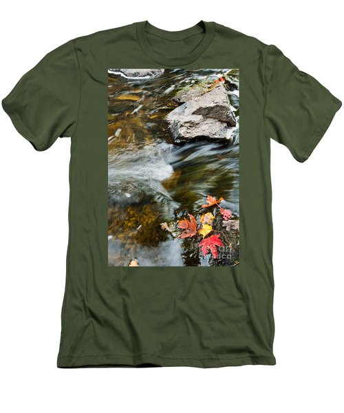 Men's T-Shirt (Slim Fit) featuring the photograph Autumn Stream by Cheryl Baxter