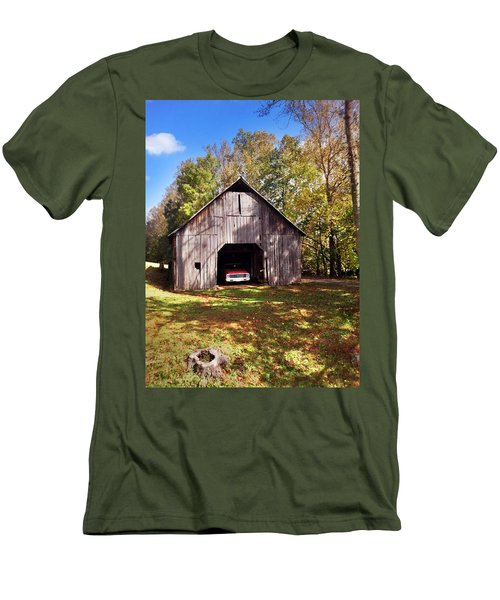 Men's T-Shirt (Slim Fit) featuring the photograph Barn An Chevy by Janice Spivey