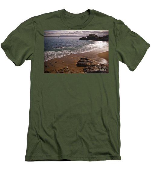 Beach At Monteray Bay Men's T-Shirt (Slim Fit) by Darcy Michaelchuk