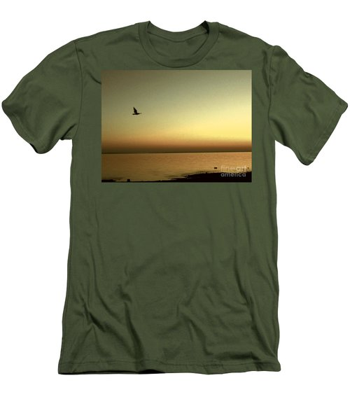 Bird At Sunrise - Sepia Men's T-Shirt (Slim Fit) by Desiree Paquette