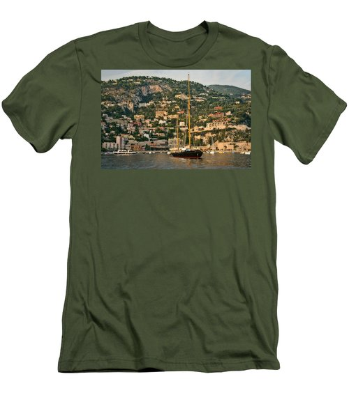 Men's T-Shirt (Slim Fit) featuring the photograph Black Sailboat by Steven Sparks