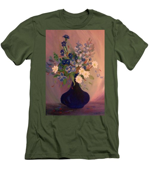 Blue Flowers 2 Men's T-Shirt (Slim Fit) by Christy Saunders Church