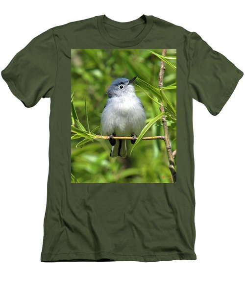 Men's T-Shirt (Slim Fit) featuring the photograph Blue-gray Gnatcatcher Dsb147 by Gerry Gantt