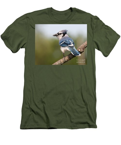 Men's T-Shirt (Slim Fit) featuring the photograph Blue Jay by Art Whitton