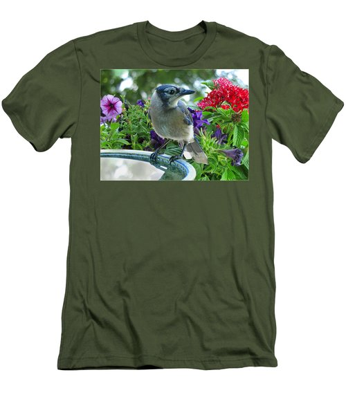Men's T-Shirt (Slim Fit) featuring the photograph Blue Jay At Water by Debbie Portwood