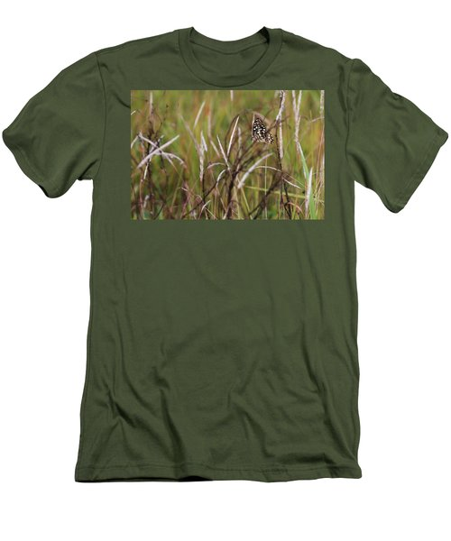 Men's T-Shirt (Slim Fit) featuring the photograph Butterfly In Flight by Fotosas Photography