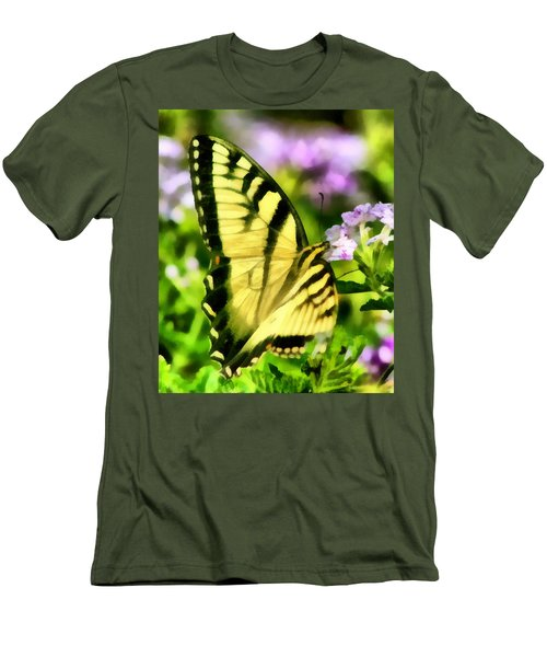 Men's T-Shirt (Slim Fit) featuring the painting Butterfly by Lynne Jenkins