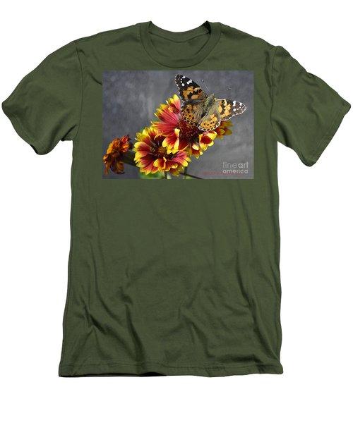 Men's T-Shirt (Slim Fit) featuring the photograph Butterfly On A Gaillardia by Verana Stark