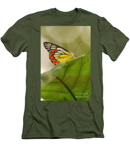 Men's T-Shirt (Slim Fit) featuring the photograph Butterfly Resting by Fotosas Photography