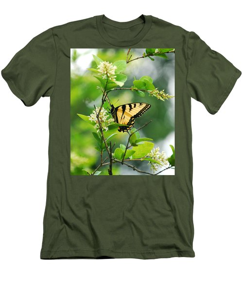 Men's T-Shirt (Slim Fit) featuring the photograph Butterfly Tiger Swallow by Peggy Franz