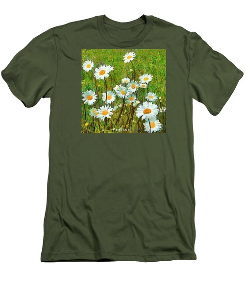 Men's T-Shirt (Slim Fit) featuring the painting Camomiles Field by Dragica  Micki Fortuna