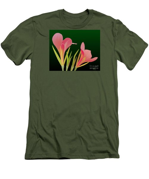 Men's T-Shirt (Slim Fit) featuring the painting Canna Lilly Whimsy by Rand Herron