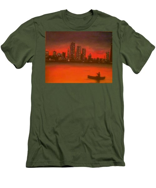 Canoe By The City Men's T-Shirt (Slim Fit) by Christy Saunders Church
