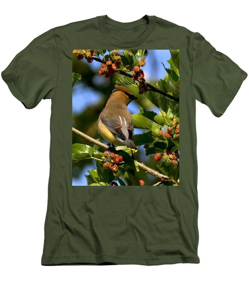 Men's T-Shirt (Slim Fit) featuring the photograph Cedar Waxwing Dsb056 by Gerry Gantt