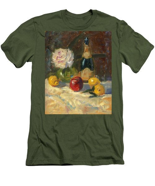 Men's T-Shirt (Slim Fit) featuring the painting Champagne And Roses by Marlyn Boyd