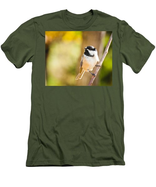Men's T-Shirt (Slim Fit) featuring the photograph Chickadee by Cheryl Baxter