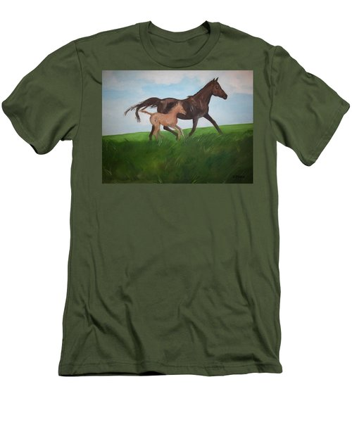 Men's T-Shirt (Slim Fit) featuring the painting Chloe's Dream by George Pedro
